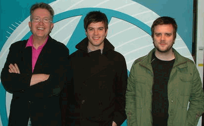 Tom Robinson with Tom and William Ravenscroft at BBC 6 Music